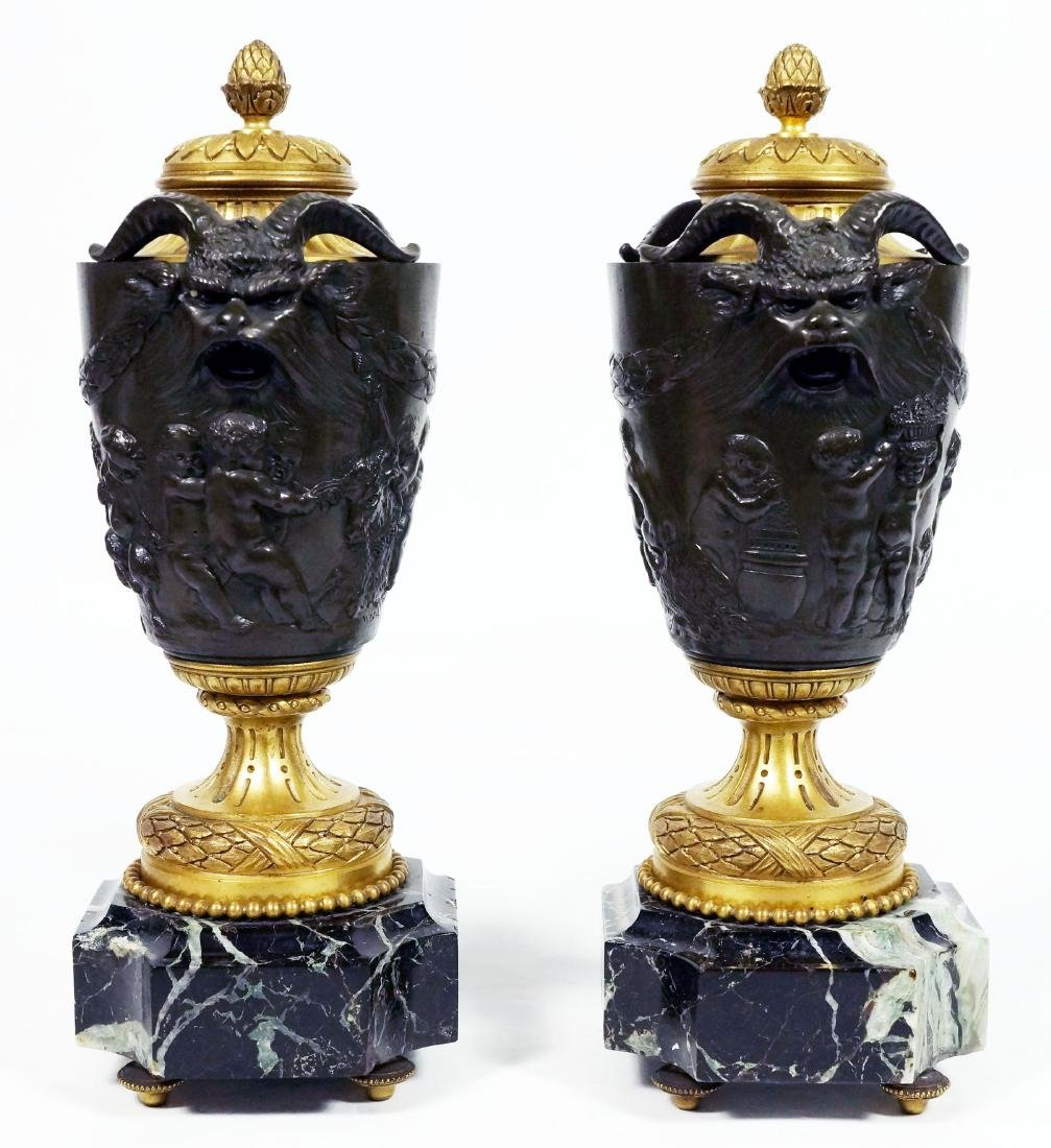 Pair Of French Bronze Urns On Marble Bases