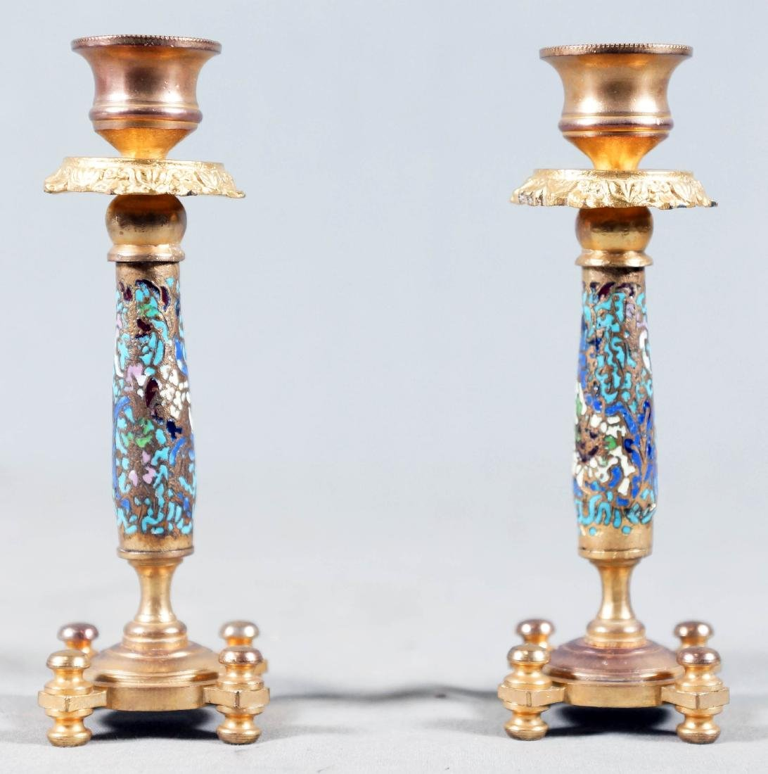French Gilt Bronze Champleve Enamel Pair Of