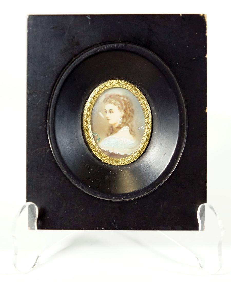 Signed Miniature Portrait Of A Nobel Women