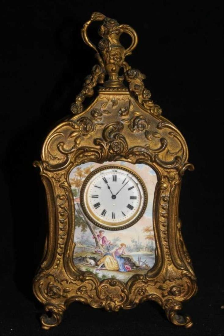 19C French Rococo Dore Bronze & Enamel Shelf Clock