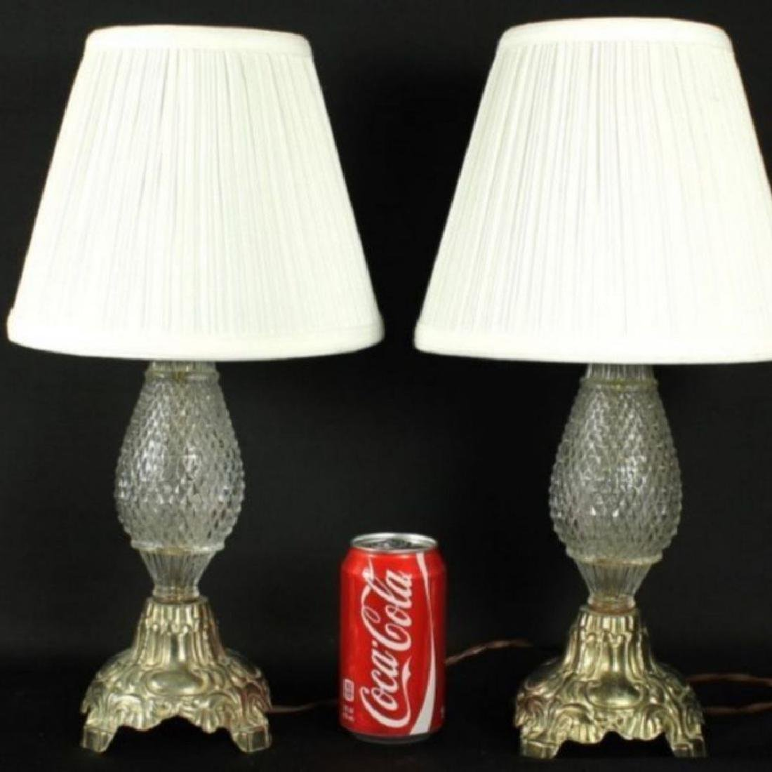 Antique Bronze And Cut Glass Lamps