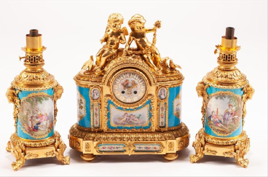 French Gilt Bronze & Sevres Style Porcelain Three-Piece