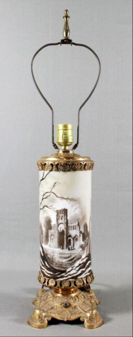 19Th Century Bacarrat Glass And Bronze Table Lamp With