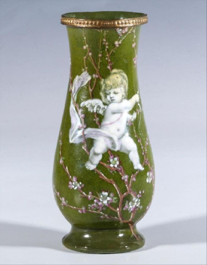 A 19Th Century French Enamel On Copper Vase