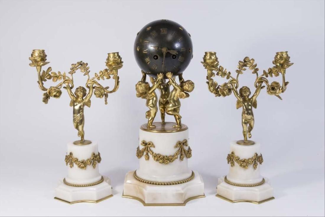 19Th Century 3 Piece Bronze & Marble Clock Set