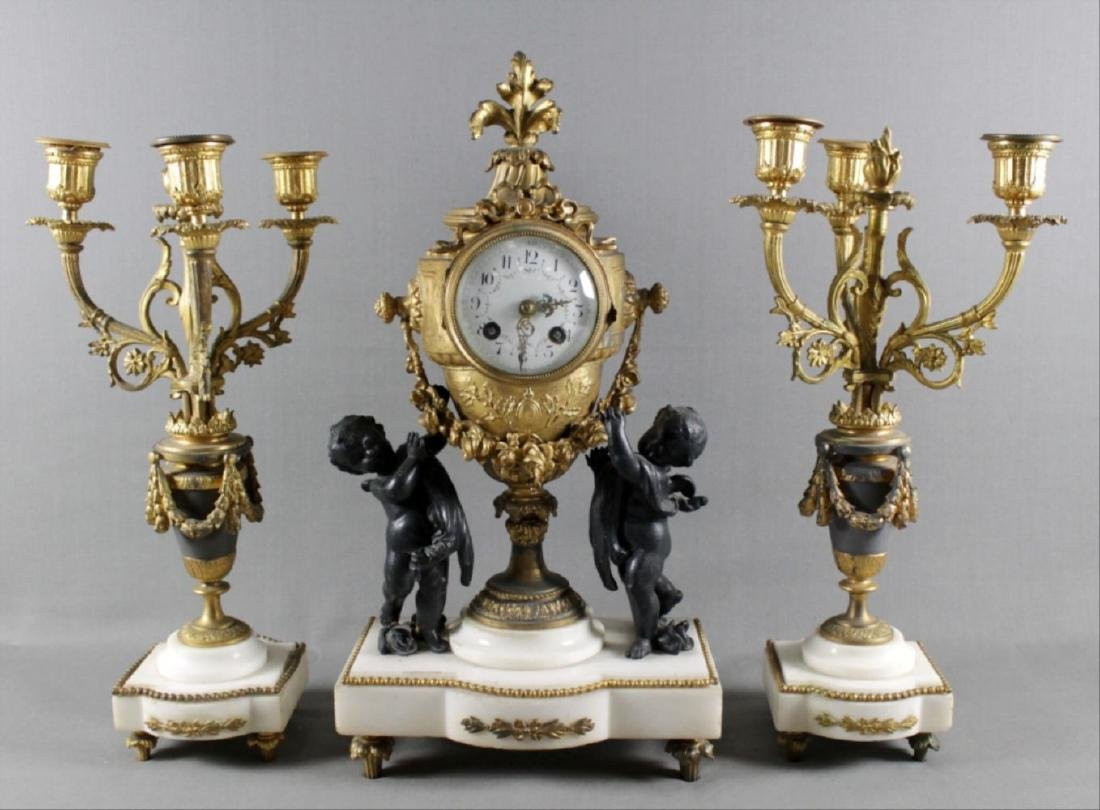 3 Pc. French Gilt Metal And Marbleclockset