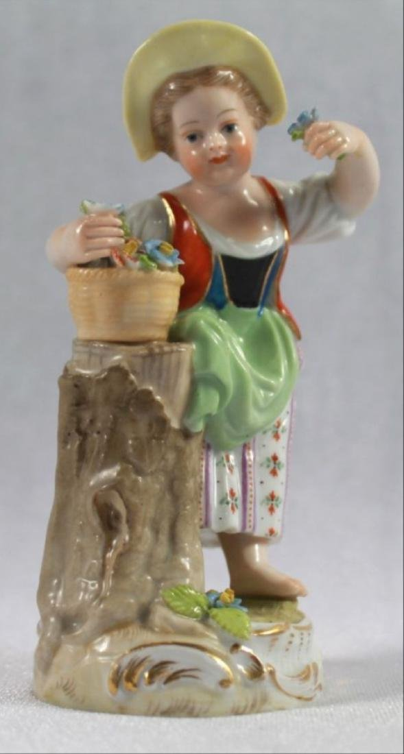 Antique 19Th C. Meissen Porcelain Figure Of A Girl