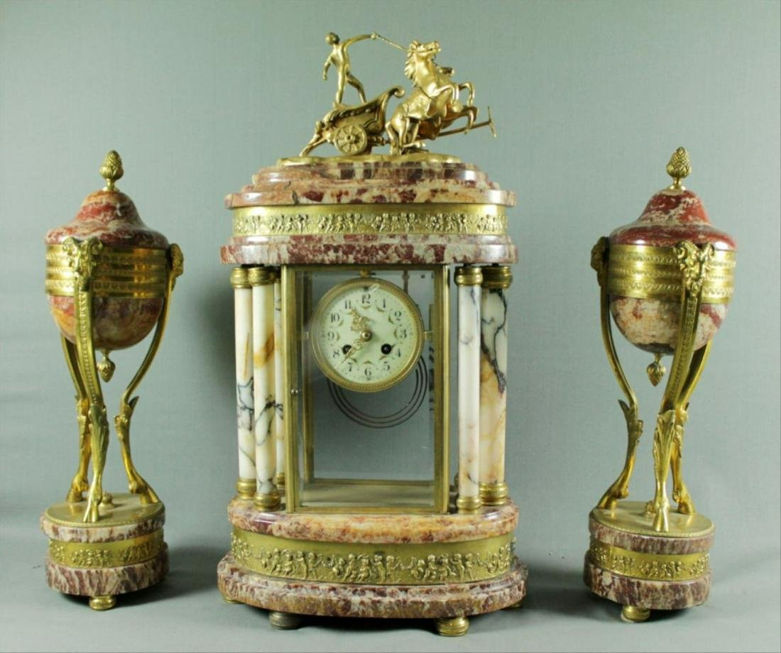 19Th C. 3 Pc. Bronze And Marble Clockset