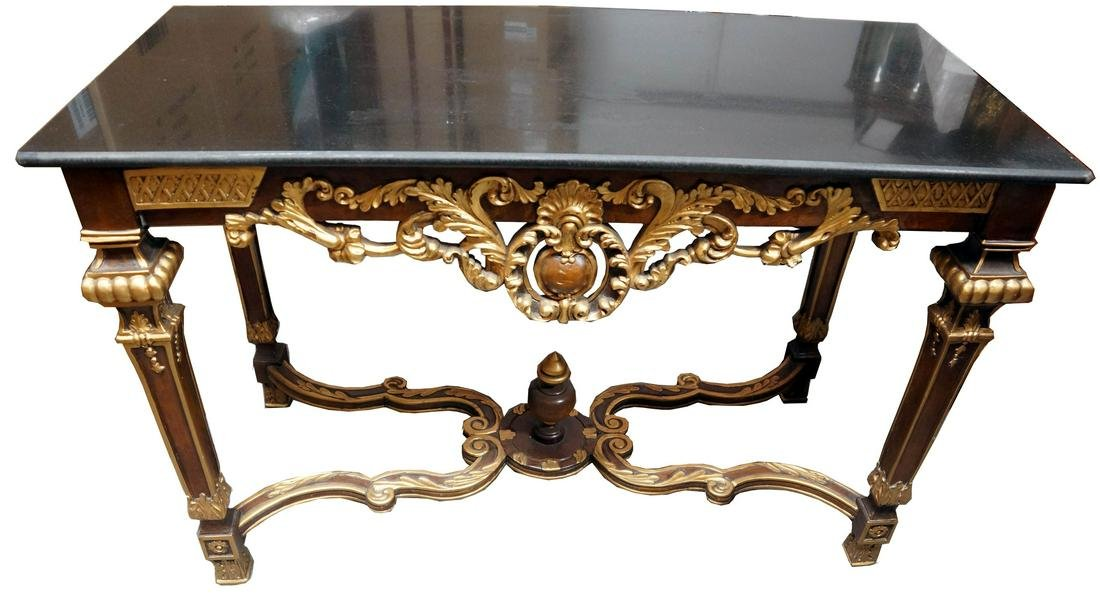 Louis Xvi Style Wood And Marble Console Table