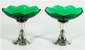 Pair Of Weighted Sterling And Glass Compotes