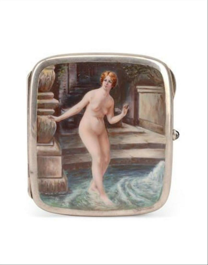 A Continental Silver And Enamel Erotic Cigarette Case