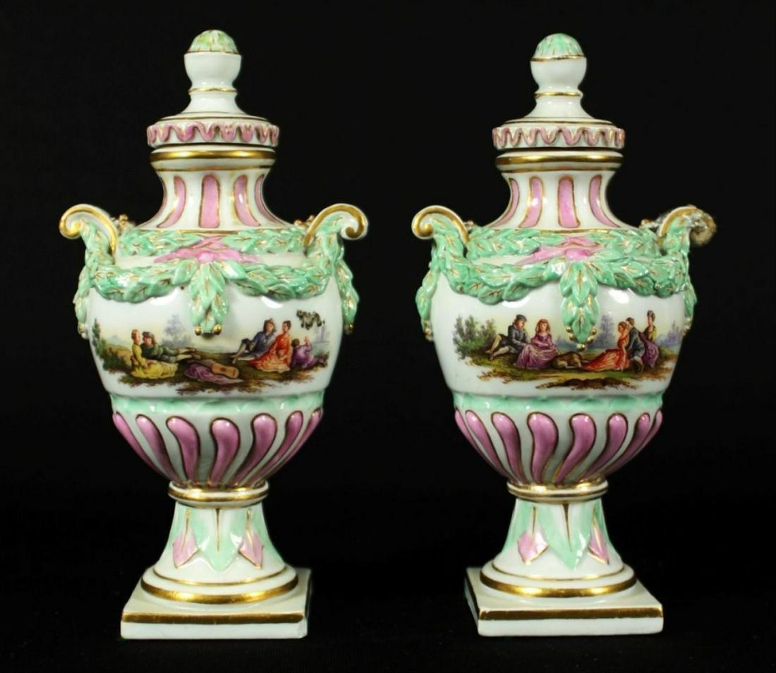 Pair Of Minature Meissen Vases