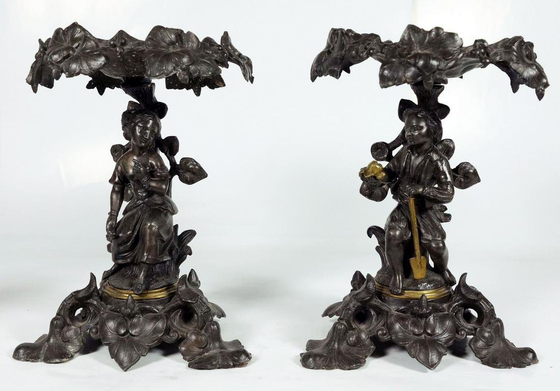 Pair Of Bronze Figural Compotes