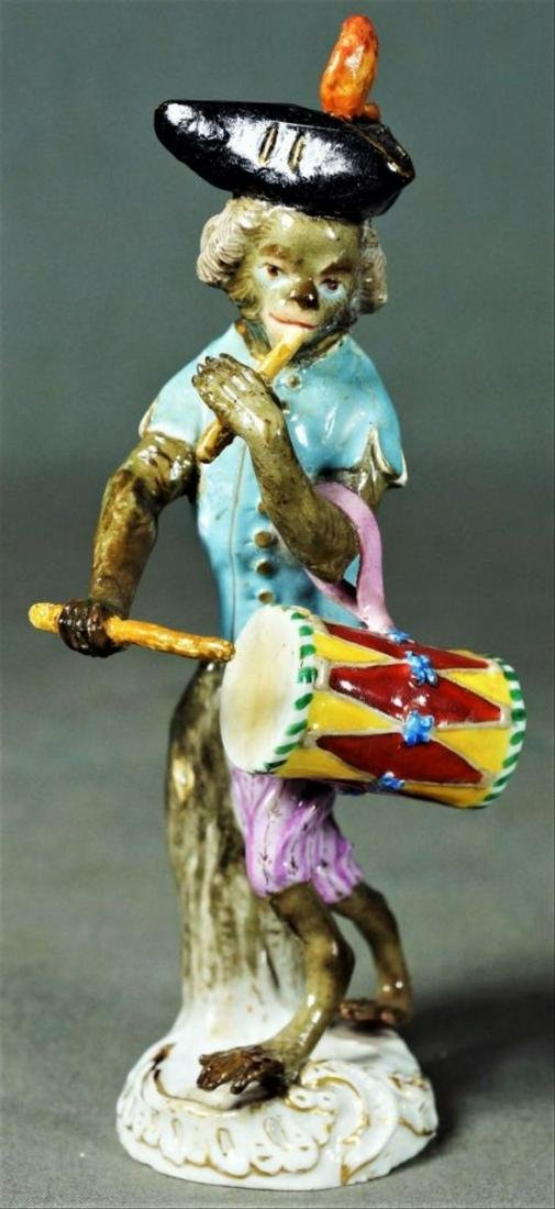 Antique Meissen Dresden Porcelain Monkey Marching Drum