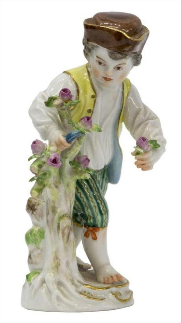 19Th C. Meissen Porcelain Figure Boy Cutting Flowers
