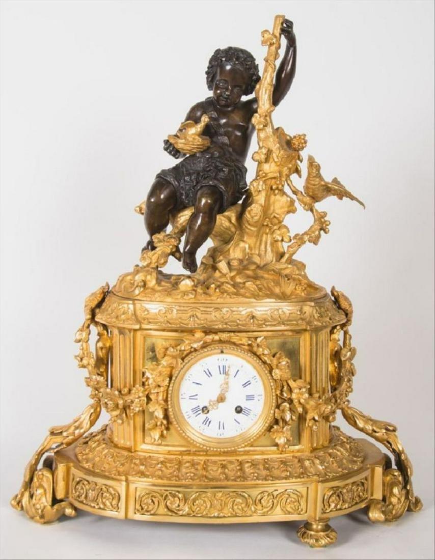 19Th Century French Bronze & Gilt Bronze Figural Mantle