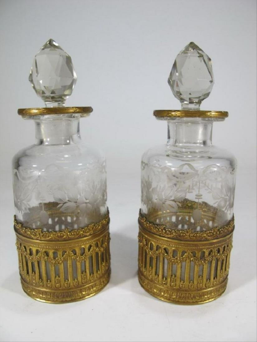 Antique French Baccarat Style Pair Of Bottles