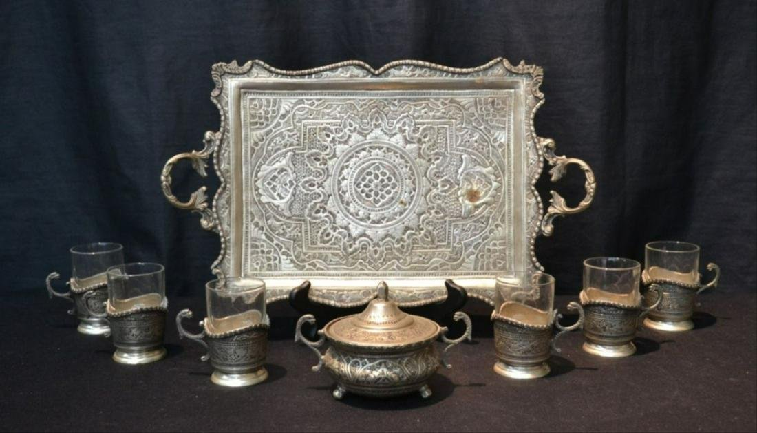 8 Pc. Engraved Silver Plated Tea Set