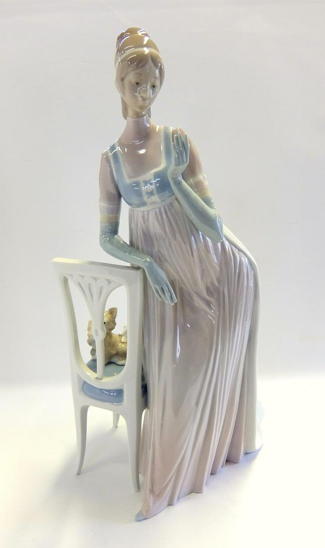 Lladro Figurine Lady Empire With Tall Chair & Dog