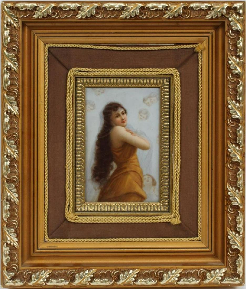 Kpm German Hand Painted Porcelain Plaque, C. 1900