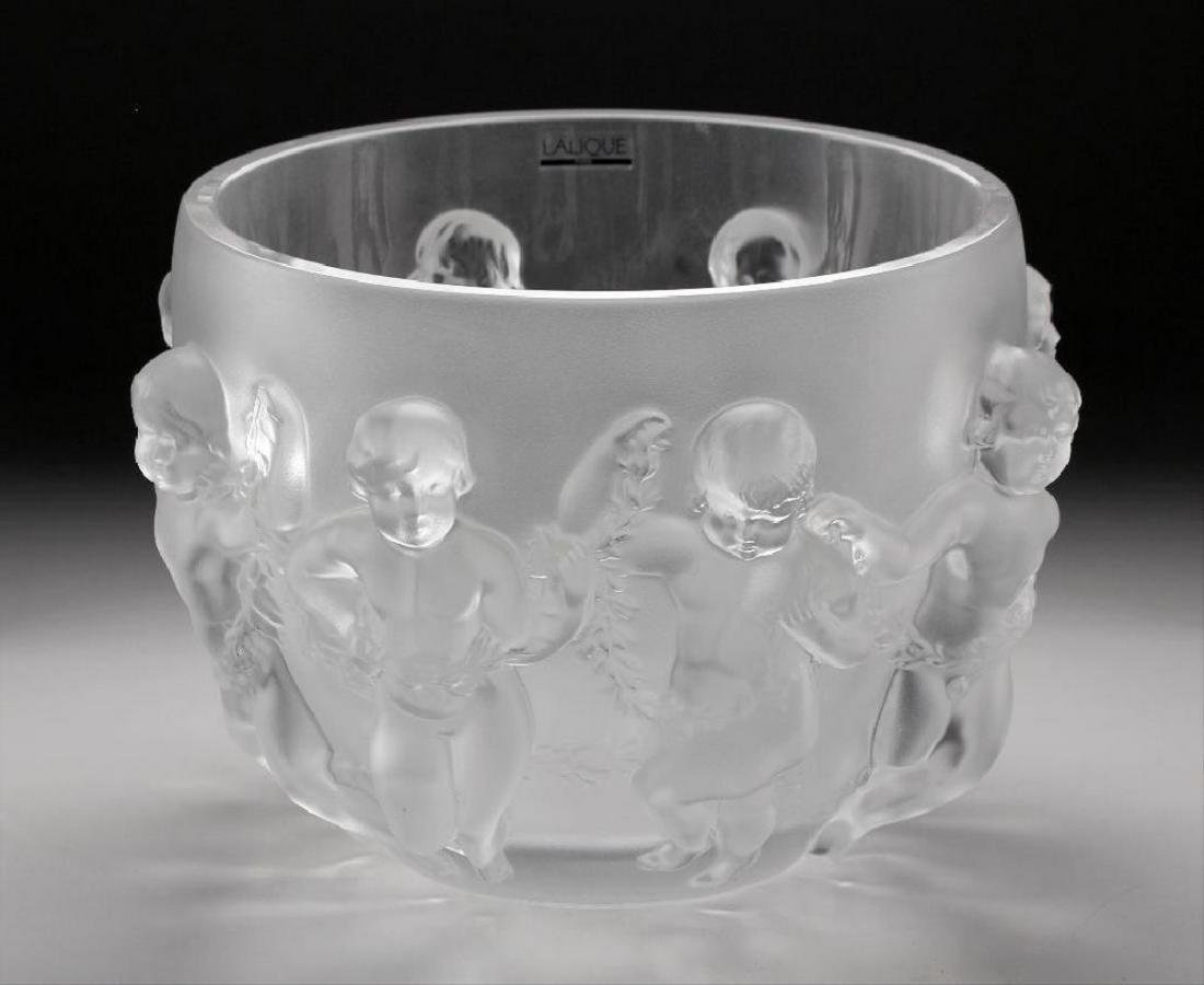 Large Lalique Luxembourg Cherub Crystal Center Bowl