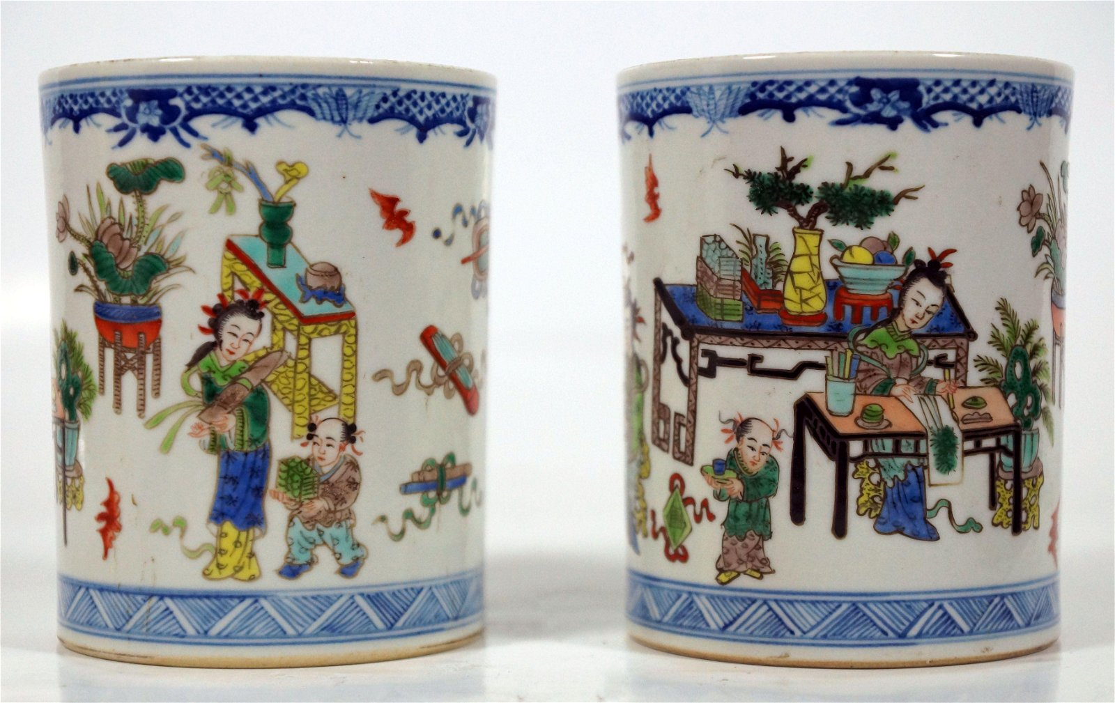 Pair Of Chinese Porcelain Brush Pots