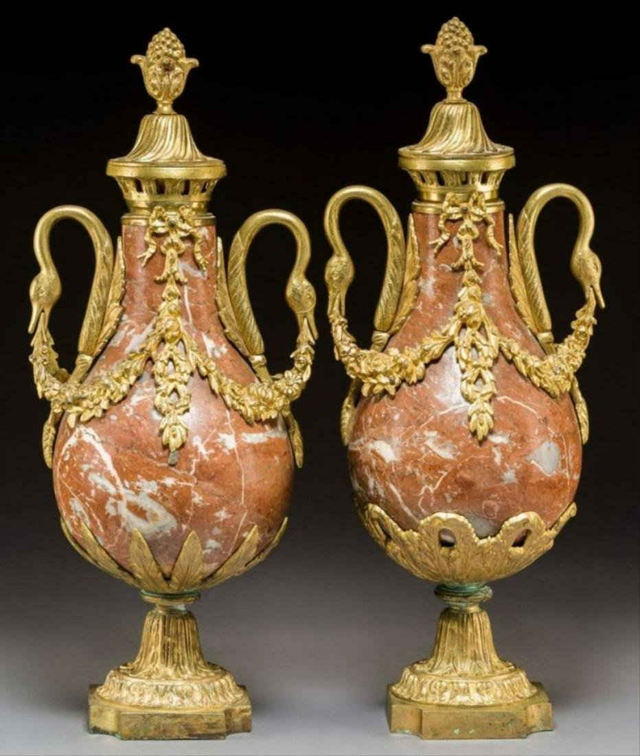 Pair Of Marble Louis Xvi-Style Gilt Bronze And Rouge