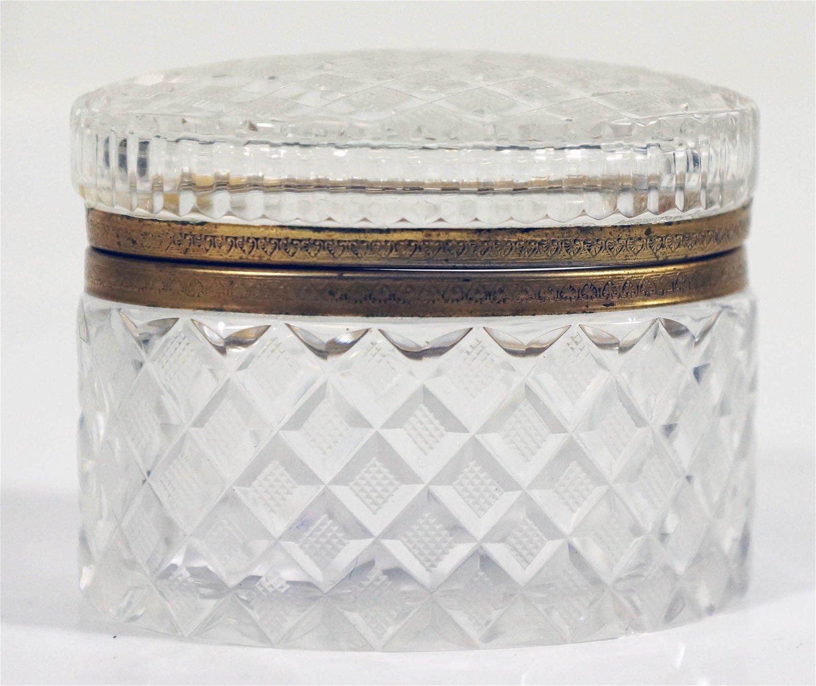 Continental Gilt Metal Mounted Cut Glass Box Late 19Th