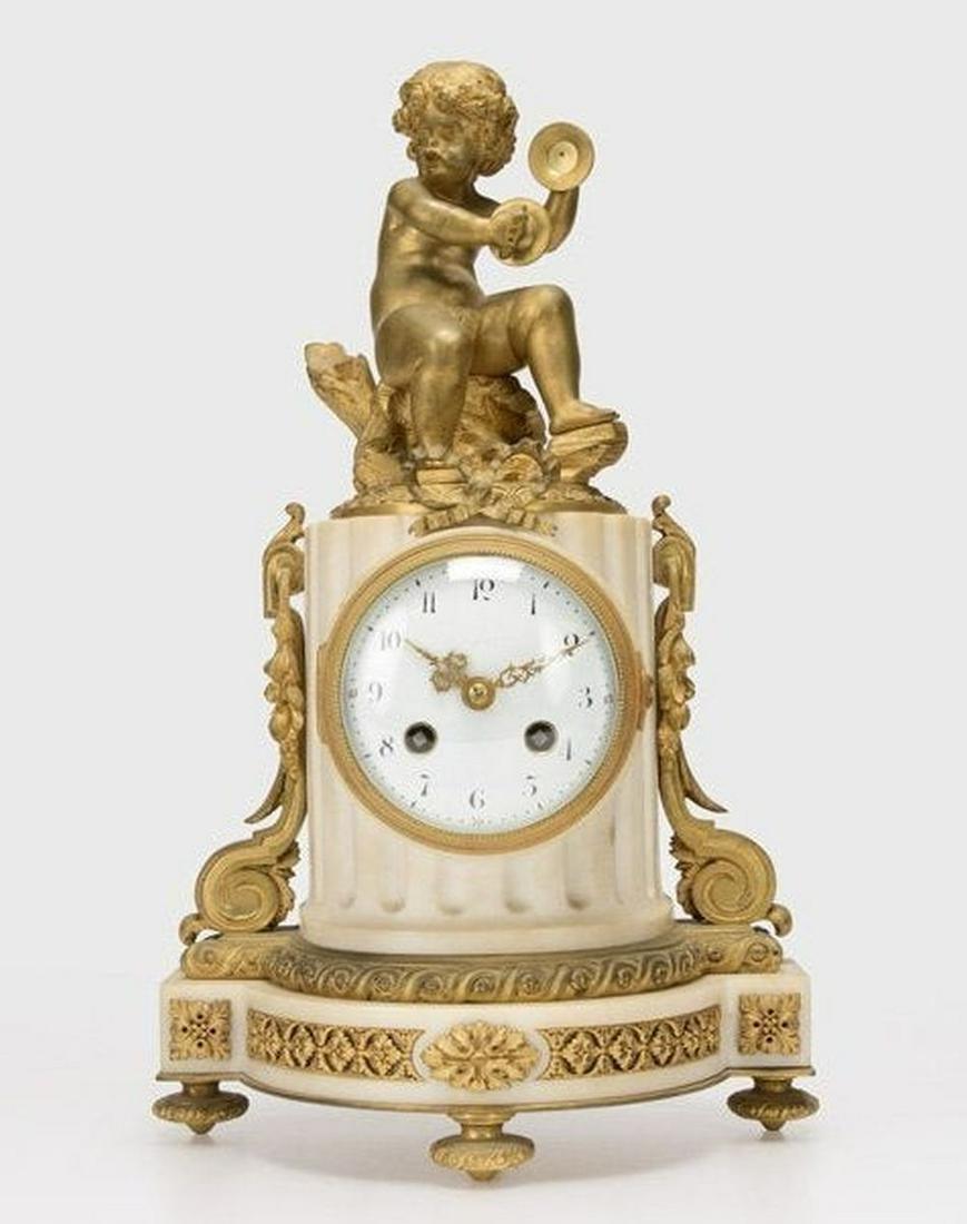 Louis Xvi Style Gilt Bronze Mounted Mantel Clock