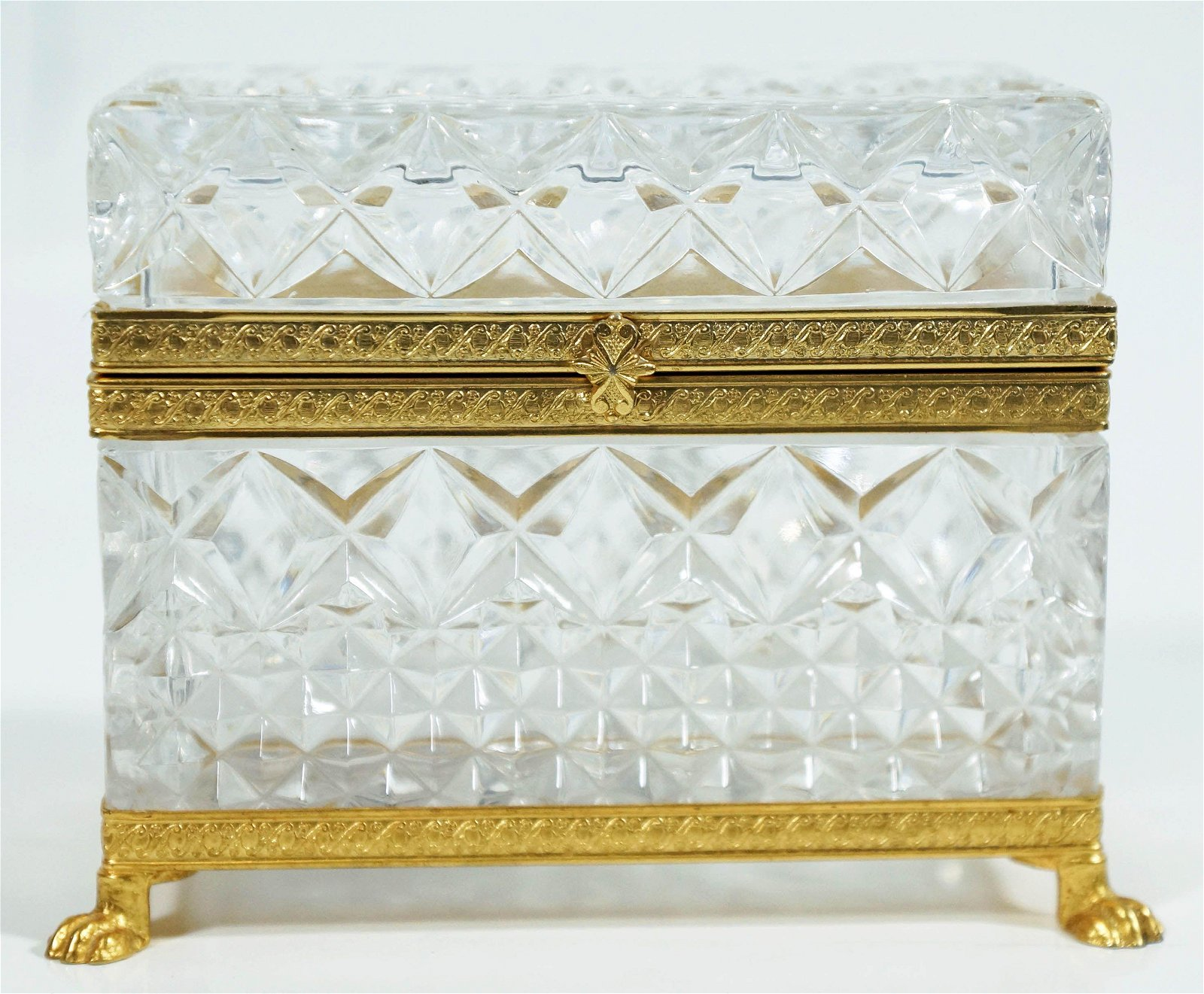 Continental Gilt Metal Mounted Cut Glass Box Late 19Th