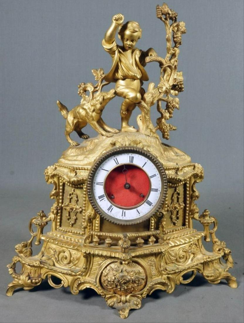 Boy And Dog Bronze Mantel Clock