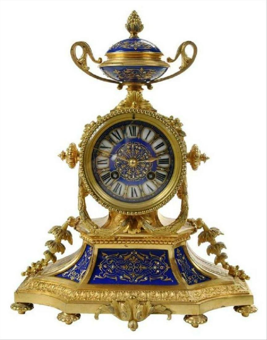 Gilt Bronze And Enamel Decorated Mantel Clock