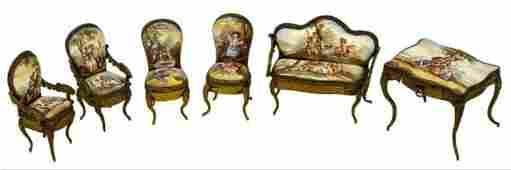 Enamled Gilt Metal Miniature Furniture Suite