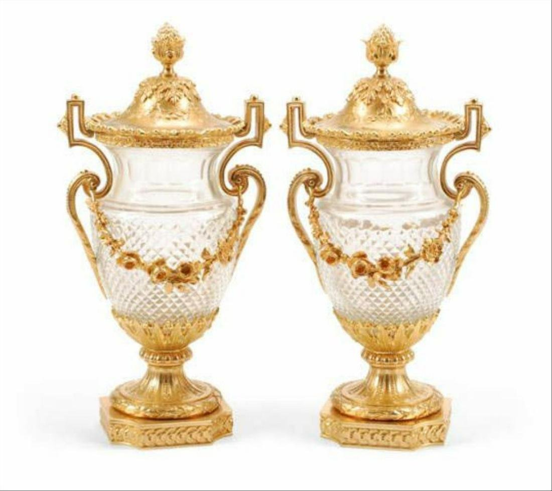 A Pair Of Louis Xvi Style Gilt Bronze Mounted Glass