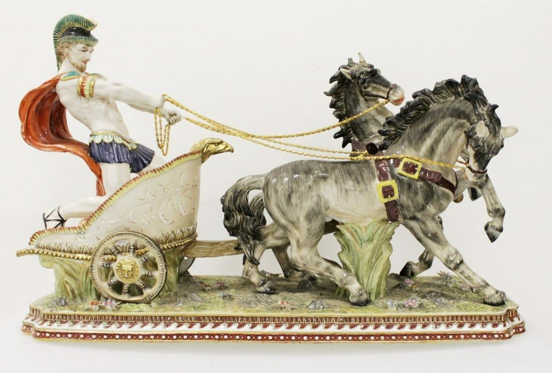 Large Polychrome Porcelain Group Of Gladiator On