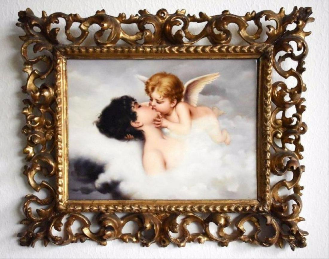 """Magnificent Kpm """"Cupid Psyche Dream Kiss"""" Plaque Signed"""