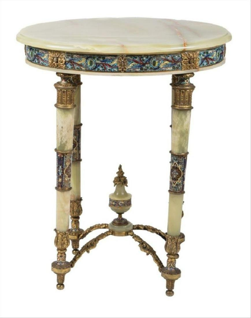 French Bronze-Mounted Onyx & Champleve Occasional Table