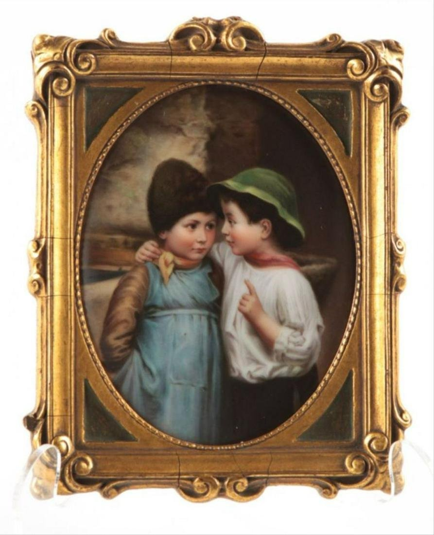 German Porcelain Plaque Signed Wagner 19Th Century
