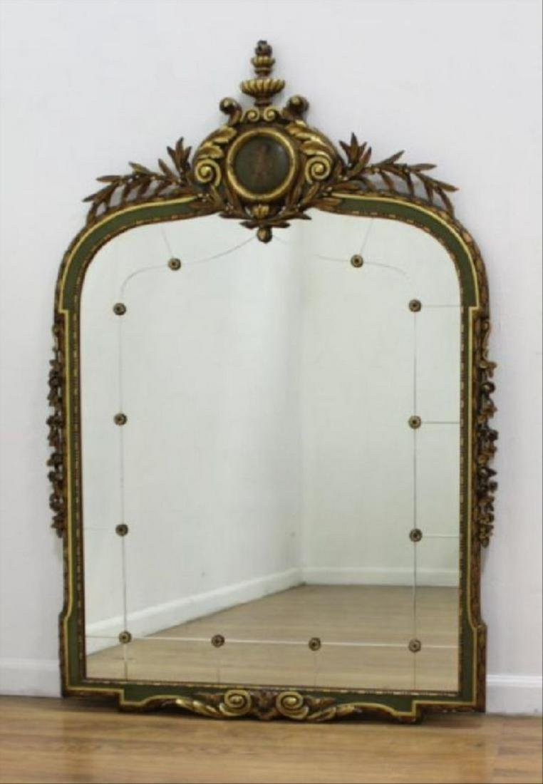"""Late 19Th C. Carved Gilded Figural Mirror 55""""H"""