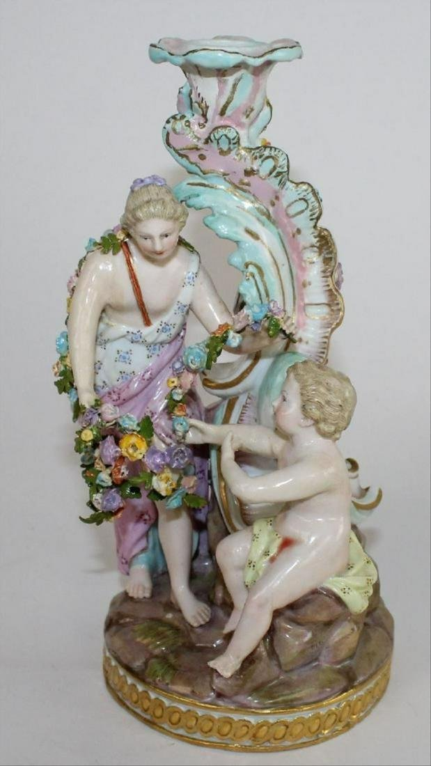 "Large 8 1/4""H Meissen 19Th C Porcelain Figural Candle"