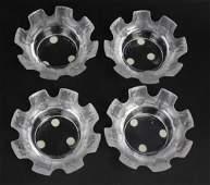Set 4 Lalique Fine French Crystal St Nicholas Ashtrays