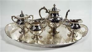 Five-Piece Silverplate Rockford Tea Service