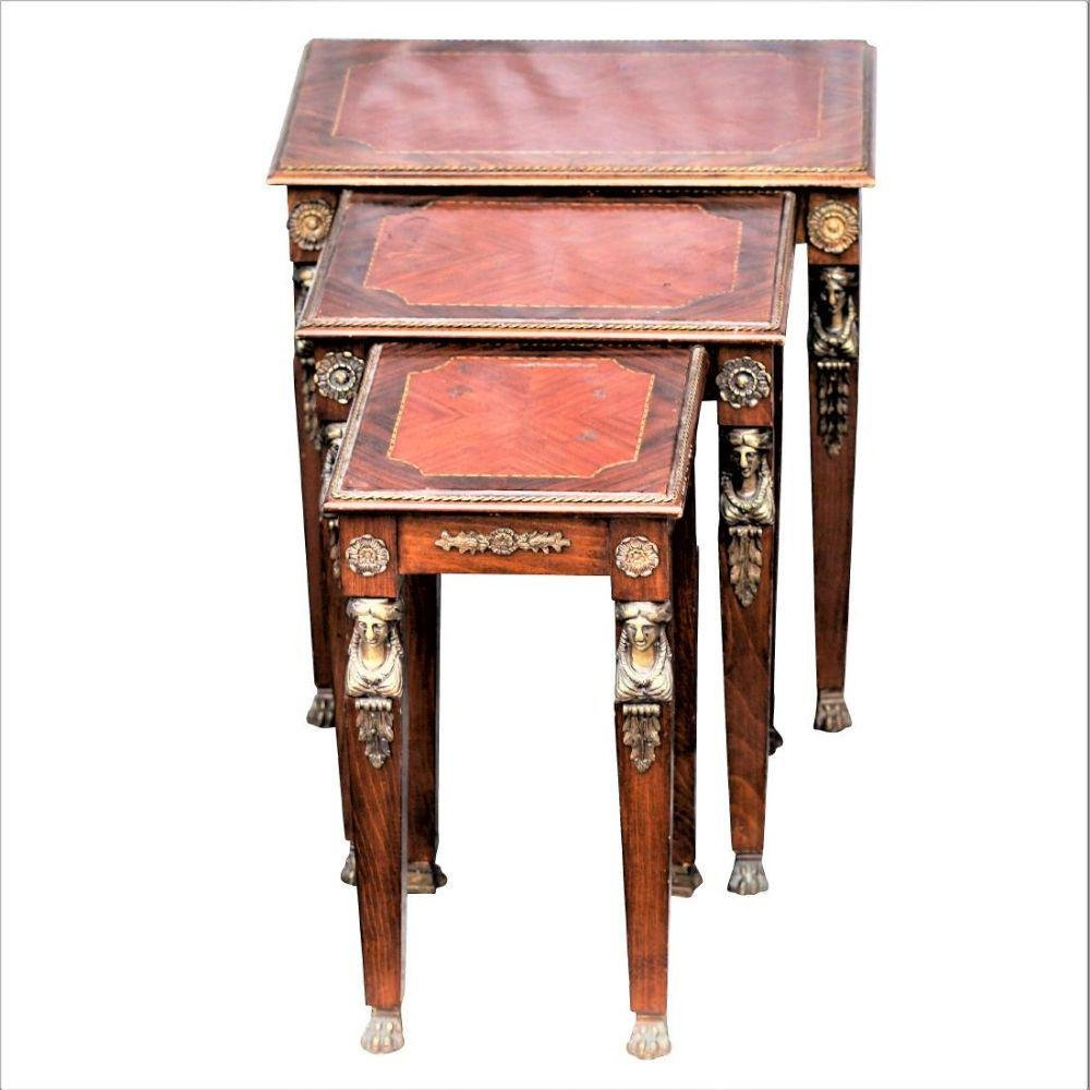 Three Empire Nesting Tables With Bronze Female Mounts