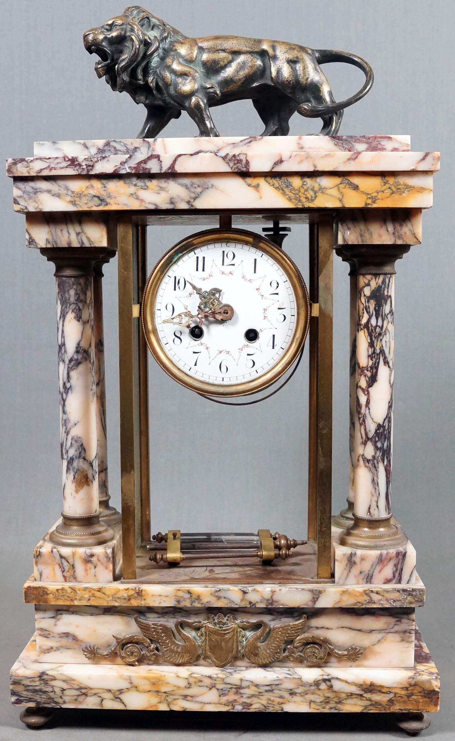 WHITE MARBLE MANTLE CLOCK WITH BRONZE LION