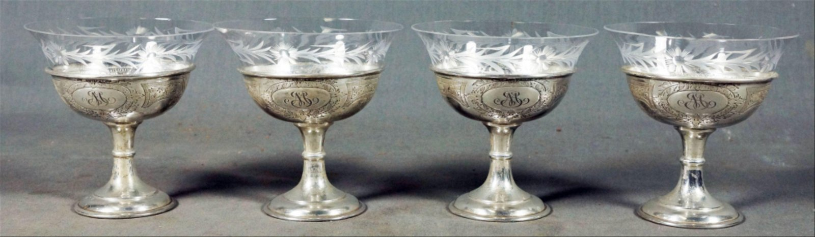 Four Sterling & Glass Sherbets