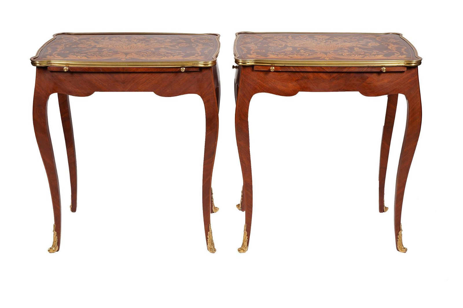 Pair Of Louis Xv Style Marquetry Tables