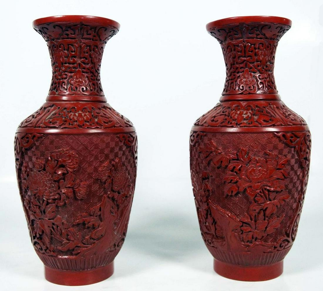 Pair Of Chinese Cinnabar Vases