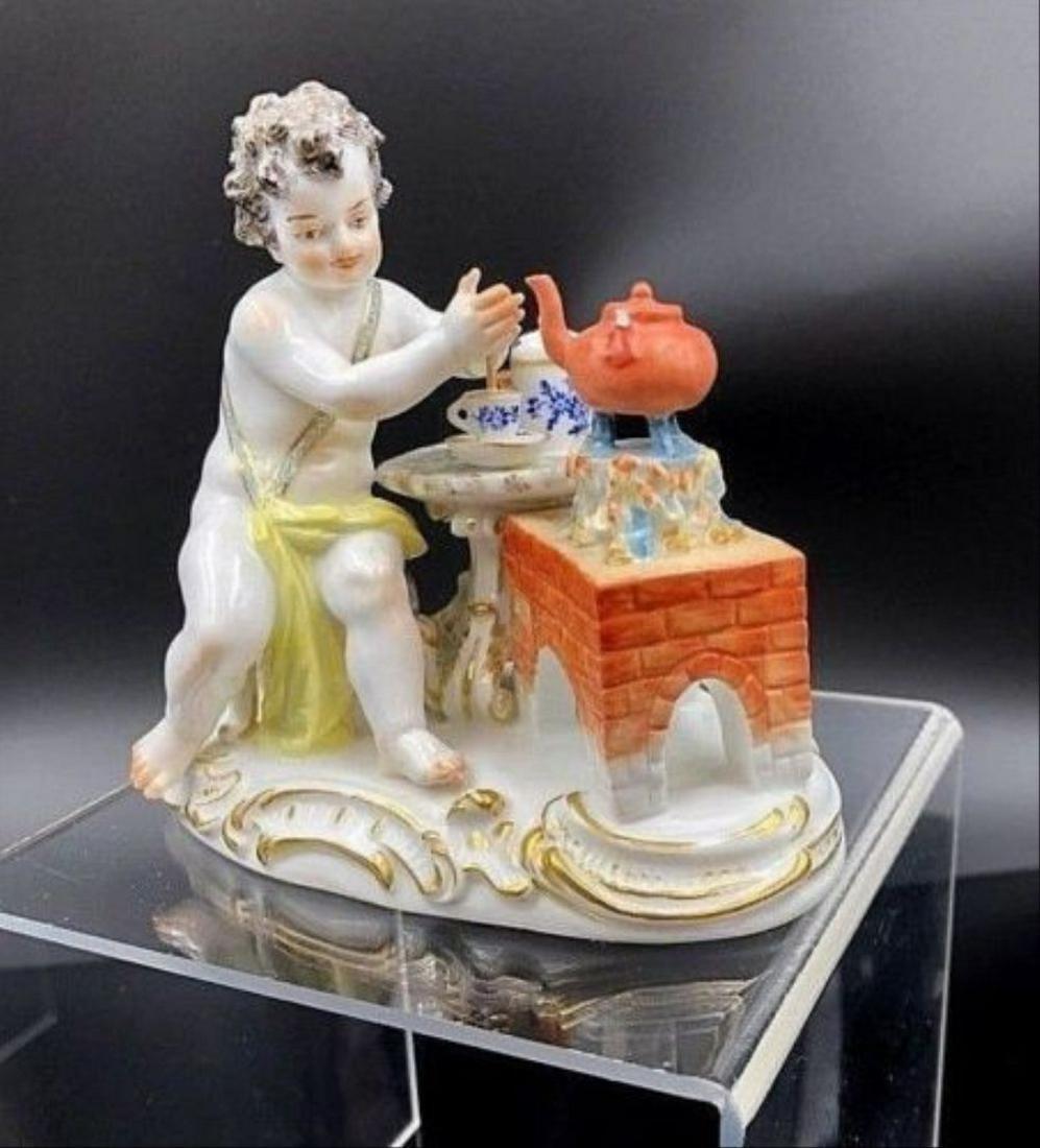 Meissen Porcelain Figurine Boy Preparing Hot Chocolate