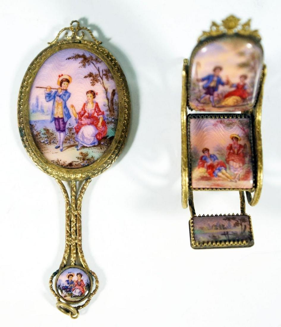 Bronze And Enamel Dresser Set Depicting Courtship