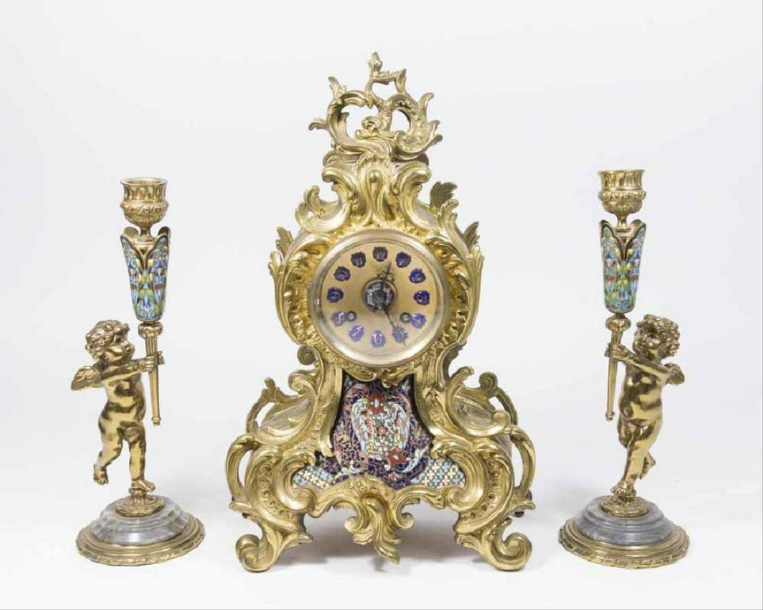 19Th Century 3 Pc. Brass And Enamel Clock Set